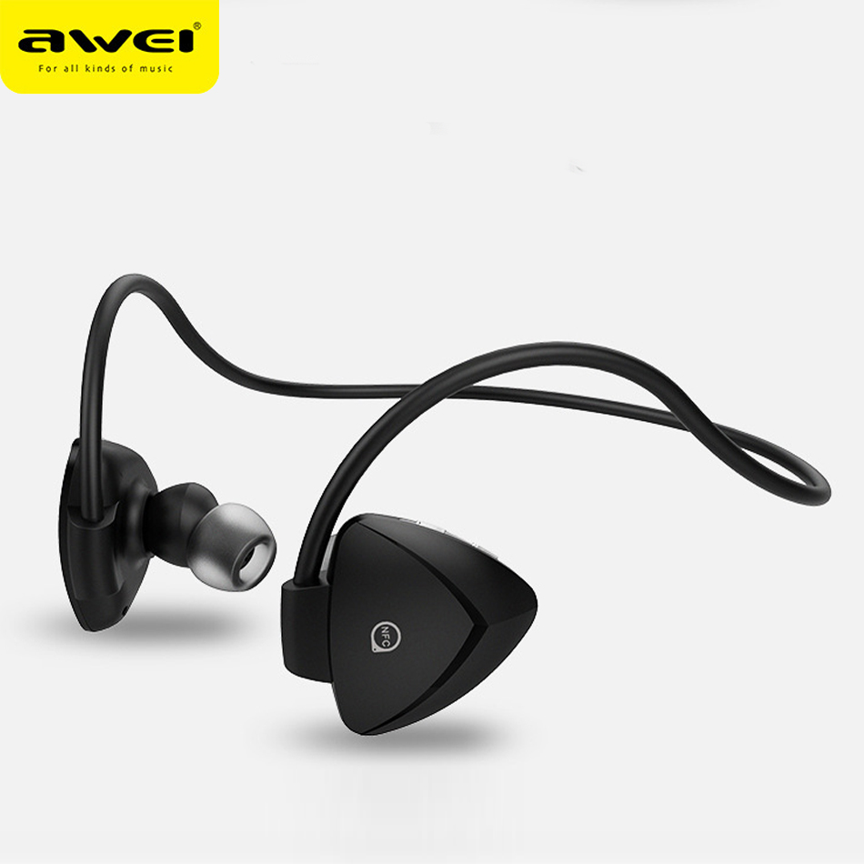 AWEI A840BL Sweatproof Wireless Bluetooth Earphone Sport Stereo Music Headphones With Mic Handsfree Headsets Auriculares remax rb s6 neck hanging type sport headphones bluetooth v4 1 wireless hd stereo earphone music headphone with mic multi connect