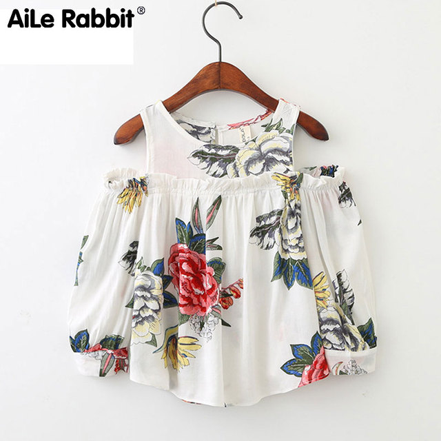 bb1dc8b09 AiLe Rabbit 2018 New Arrival Girls  Flower Tops Blouse Long Sleeve ...