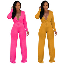 цена на 2018 Autumn Women Wide Leg Jumpsuit Sexy V-neck Long Sleeve Wrap Romper Slim Bodycon Jumpsuit Elegant Club Outfit Streetwear