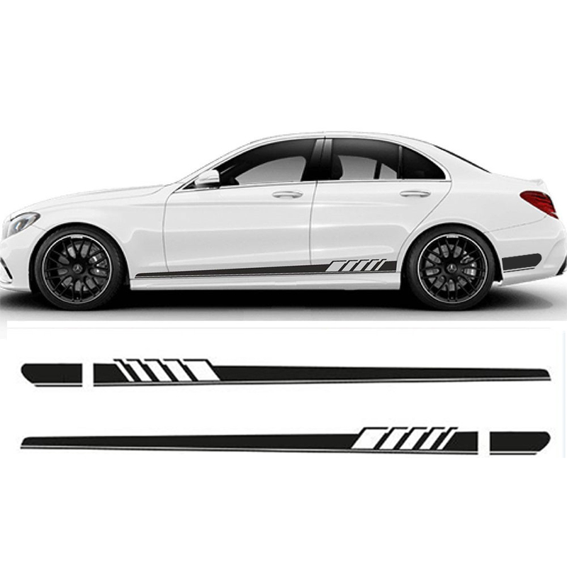 2 Stks Gloss Black Auto Side Rok Auto Sticker Amg Editie 507 Racing Streep Side Body Garland Voor Mercedes Benz C Klasse W205