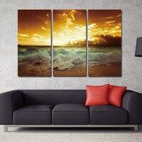 Mar amarillo Paisaje Lienzo pintura 3 unidades Para vivir Pared Pintura Decoración Lienzo Imagen de arte de la pared impresiones de la lona de playa