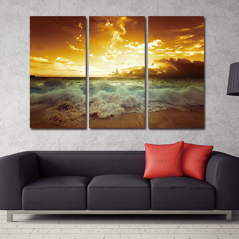 Yellow Sea Landscape  Canvas painting 3 piece For living  Wall - Home Decor