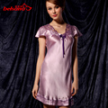 New arrival high quality silk nightgown silk sleepwear women's summer sexy lace lounge