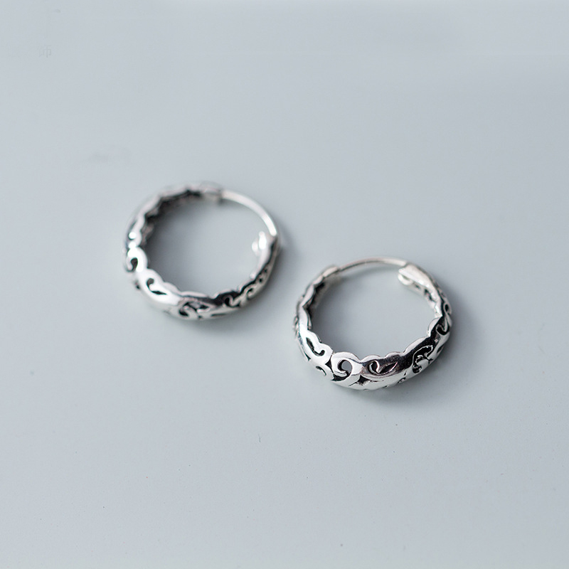 US Seller 2 pairs 925 Sterling Silver 14mm Bali Hoop Round Earrings