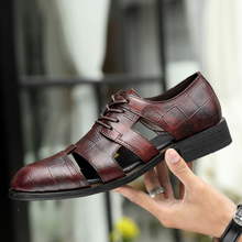 2019 New Genuine Leather Men's Dress Shoes Handmade Office Business Wedding Hollow BreathableLuxury Lace Up Formal Oxfords Mens