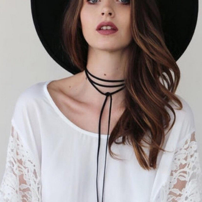 Hot Sale Fashion Simple Black Bow Tie Long Rope Chain Necklace For Woman Gift Jewelry DIY Choker Handmade Boho Accessories x169