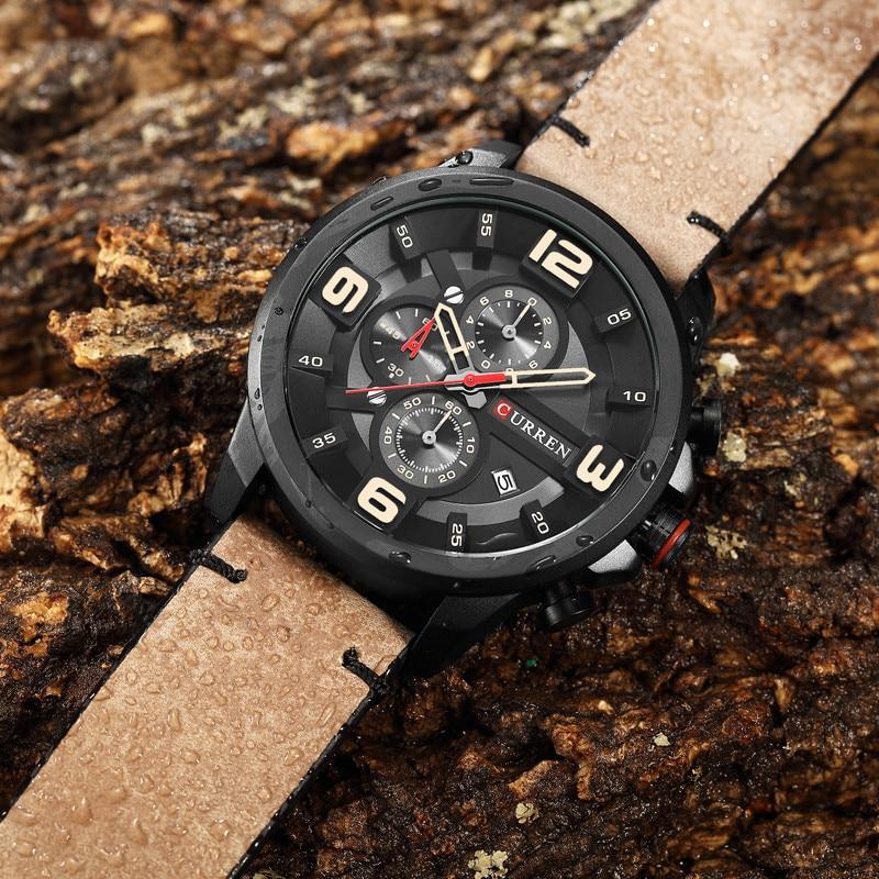 CURREN Chronograph Sport Man Watch Men s Watches 8288 Luxury Brand Leather  Quartz Male Wristwatch Men Montre Homme Hodinky Clock-in Quartz Watches  from ... 6295b241855