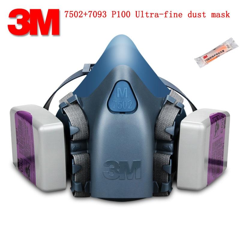 3M 7502 7093 P100 respirator dust mask Genuine security 3M respirator mask against Fine dust Acid