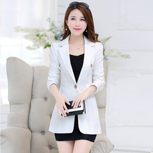 3440ebaa7 OL breve sólido oculto Breasted largo las mujeres Blazer trajes femenino  chaqueta bolsillos de negocios Blaser Slim Mujer Plus t.