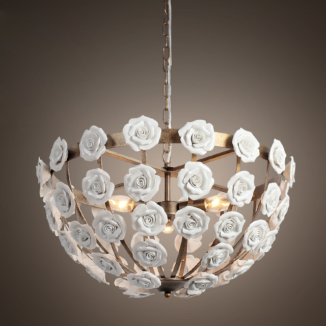 2016 New Design White Color Ceramic Flower Pendant Chandelier With Led Bulbs Dinning Room Light Free