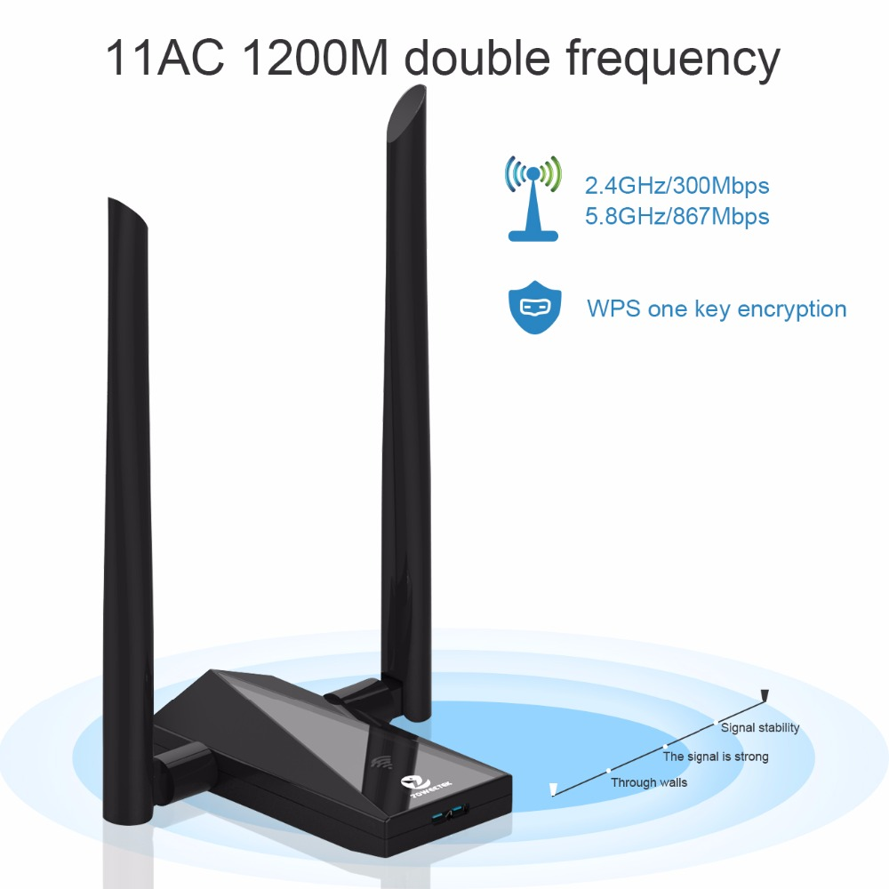 wifi adapter usb Zoweetek Wireless Wifi Adapter USB 3 0 Wi fi Lan Receiver  Dual Band Antenna 1200Mbps 802 11ac Repeater Network Card For