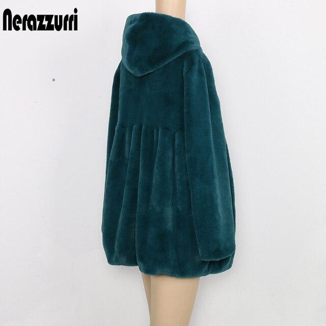 Nerazzurri Faux Bontjas Met Kap Hoge Taille Mode Slanke Zwart Rood Roze Faux Fur Jas Fake Konijnenbont Plus size 4XL 5XL 6XL