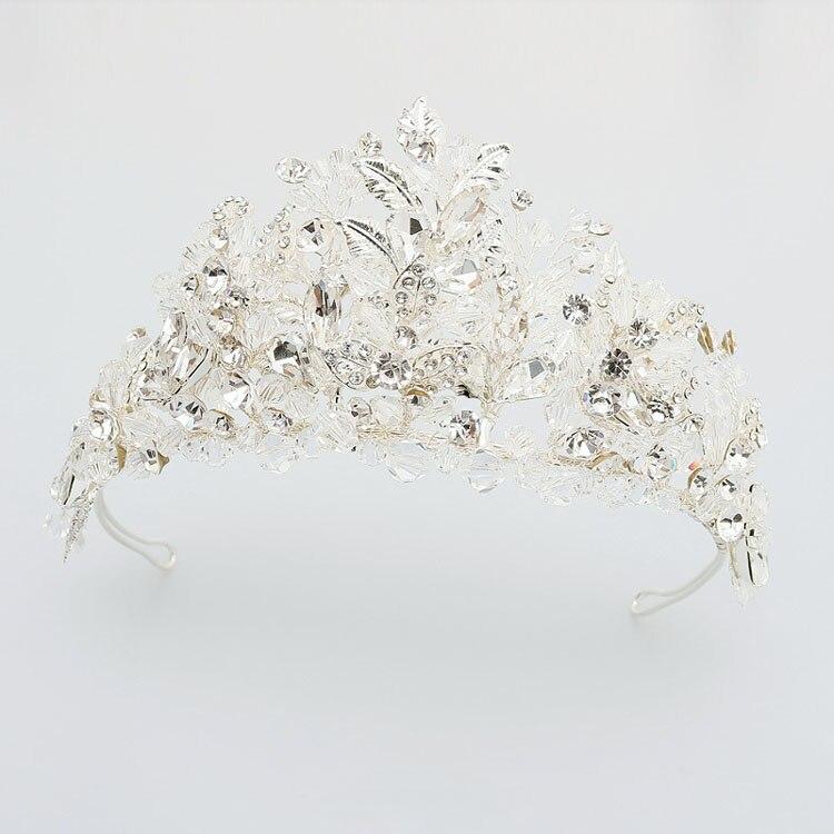 Gorgeous Handmade Silver Crystal Pearls Leaf Wedding Tiara Headband Bridal Hair accessories Princess Crown Bridesmaids Women