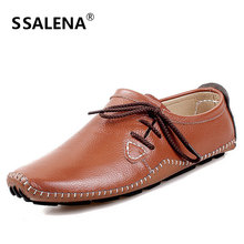 Men Leather Handmade Casual Loafers Comfortable Lace Up Soft Driving Shoes Mens Breathable Comfy Moccasins Shoes AA11589