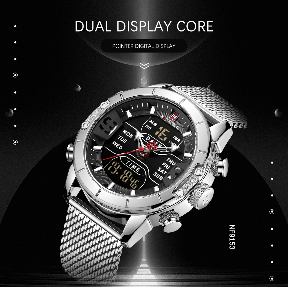 NAVIFORCE Mens Watches Top Brand Luxury Mesh Steel Multiple Time Zone Waterproof Watch For Men Silver Watch Relojes Para Hombre (1)