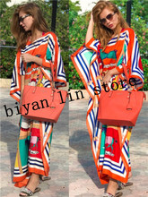 Dress Length:130cm Bust:130cm 2018 New Fashion dresses Bazin Print Dashiki Women Long Blouse Yomadou Color Pattern oversize
