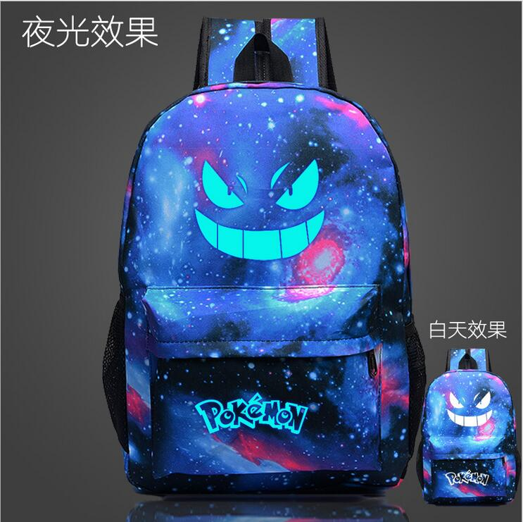 Фото Bright galaxy printing bag backpack pokemon bags teenage girl Feminina Emoji backpack bag youth men