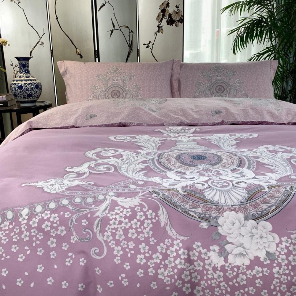 Flower series Bedding Set  scallop edge Bed Set Luxury cotton Bed Sheet Queen King Size Duvet Cover Set purple Bed LinenFlower series Bedding Set  scallop edge Bed Set Luxury cotton Bed Sheet Queen King Size Duvet Cover Set purple Bed Linen