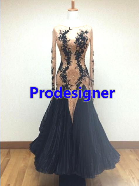 2016New Competition ballroom Standard dance dress,juvenile dance clothing,stage ballroom dress,Tango Dance Dress,black color