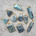 YA2295 Natural Labradorite Pendant Beads Gold