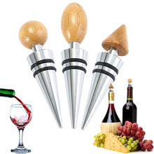 Original Wooden Winer Stopper Stainless Steel Wine Champagne Bottle Vacuum Sealed Bridal Wedding Gift