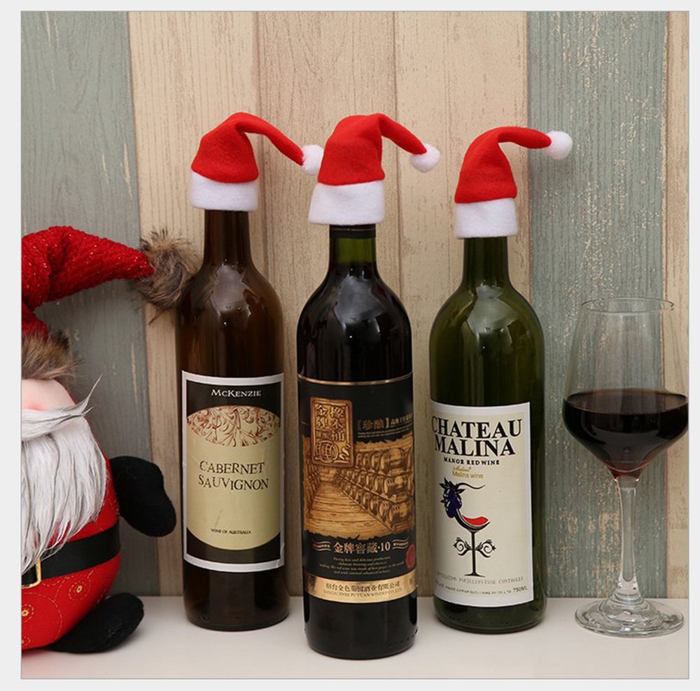 Christmas Wine.10pcs Christmas Decoration Dinner Table Mat Santa Red Hat Chair Covers Cutlery Holder Xmas Gift Wine Table Setting Party Holiday Decor