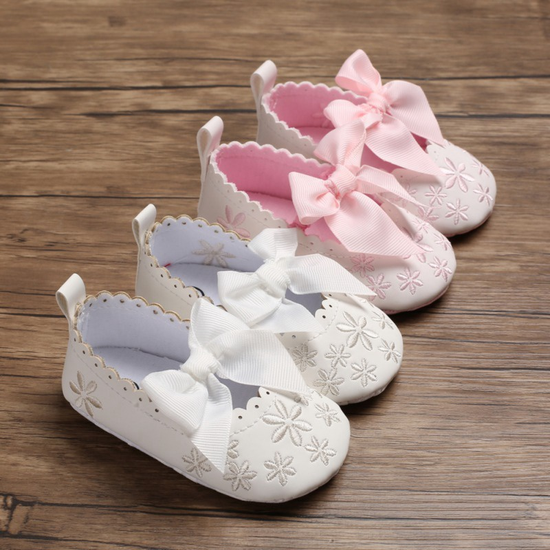 Spring Floral Embroidery Shoes With Bowknot Soft Sole Non-Slip PU   Princess Toddler Shoes Infant First Walkers
