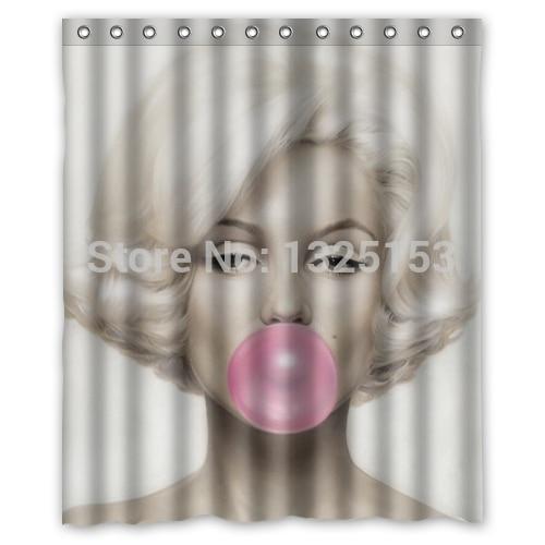 Custom Blow Bubbles Fashion Charming Marilyn Monroe Shower Curtain 60x72 Inch High Quality