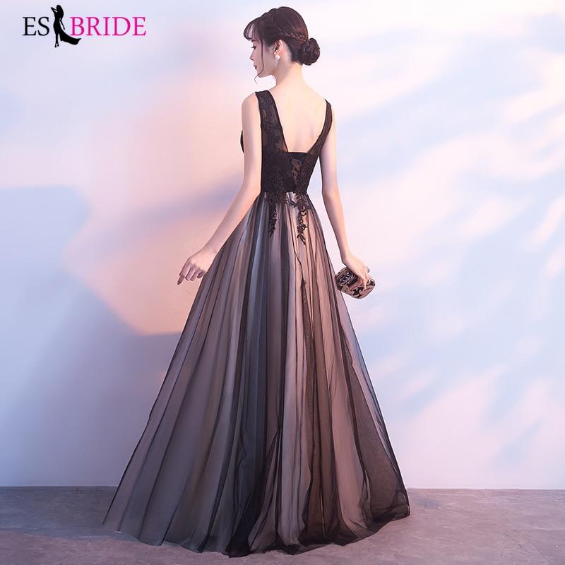 Women Formal Black Long Evening Dress Robe De Soiree Elegant A Line Sleeveless Chiffon Lace Long Evening Dress Party Gown ES1201 in Evening Dresses from Weddings Events