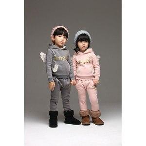 Image 2 - V TREE crianças conjunto de roupas de lã terno esportivo para o menino inverno ternos da criança para meninas asas crianças agasalho traje da escola do bebê