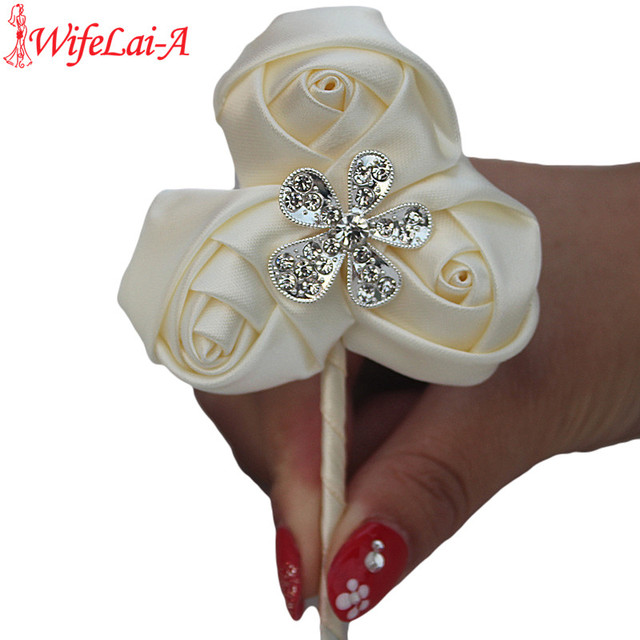 1piece/lot 3 silk Rose Flowers Brooch Corsages Pin Alloy Dimoand Wedding Corsages Groom Boutonniere Wedding Flowers XH32-H