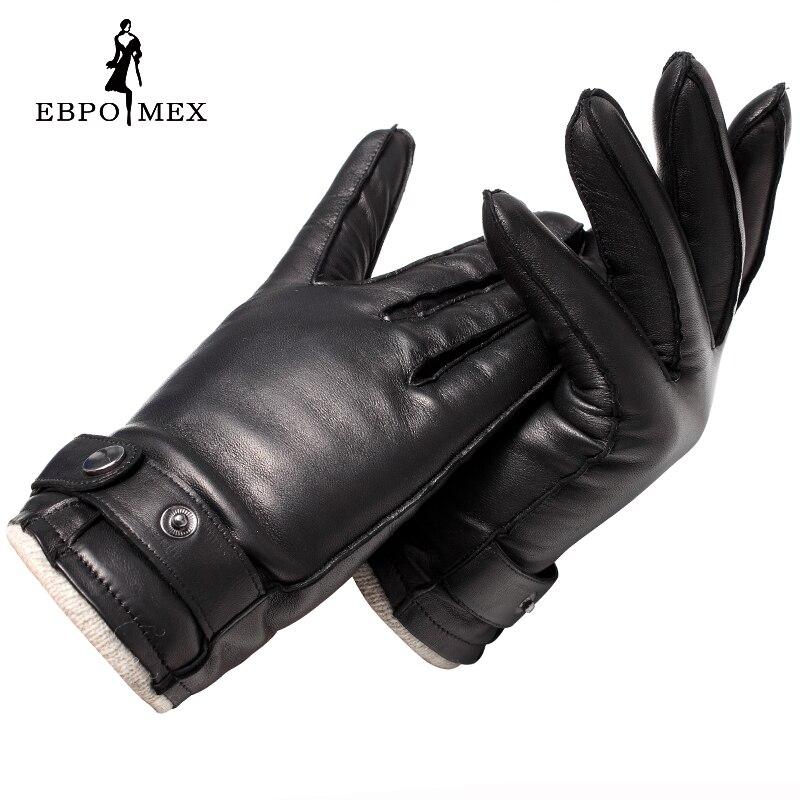 Guantes de cuero genuino de calidad superior guantes de cuero de moda para hombre guantes de conducción Vintage guantes cálidos de invierno piel de cordero marrón - 3