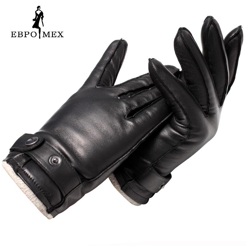 Luvas de Couro genuíno luvas luvas de couro Moda masculina Do Vintage de Grau Superior de condução luvas luvas quentes de inverno Marrom de pele de cordeiro - 3