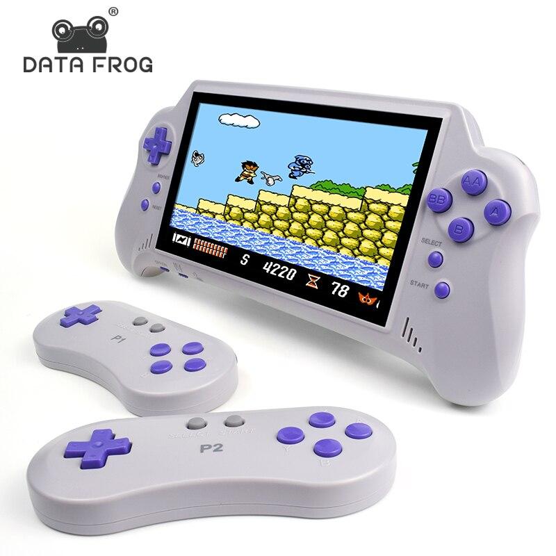 Contrôleur de jeu vidéo sans fil DATA FROG 7 pouces HD construit en 121 Console de jeu TV portable classique 8 bits double sortie Gamepad HDMI