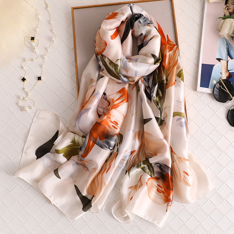 Latest Silk Scarf 2020 Elegant Women Flower Pattern Shawls And Wrap Long Foulard Bandana High Quality Large Pashmina Hijab Femme