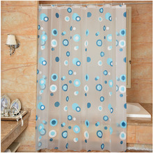 New Bathroom Shower Curtain Blue Circle Pattern PEVA Toilet Partition Curtain Waterproof Mouldproof Thickening waterproof mouldproof beach print shower curtain