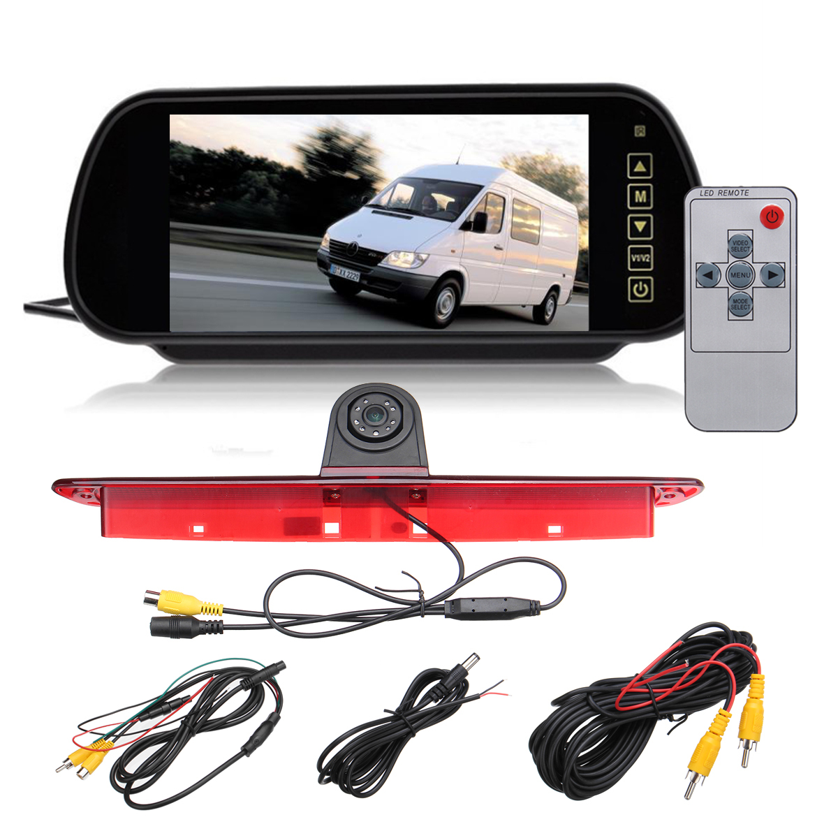 New Car Backup View Camera Brake Light IR Rear View Reversing Camera 7 inch Rearview Display Monitor Kit for Mercedes SprinterNew Car Backup View Camera Brake Light IR Rear View Reversing Camera 7 inch Rearview Display Monitor Kit for Mercedes Sprinter