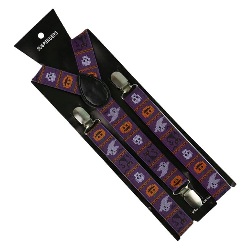 Unisex Adult 3 Clip Y-Back Clip-on Adjustable Suspender Halloween Pumpkin Printing For Men Women Breces For Suspenders Gift