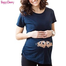Cotton Maternity Clothing Funny Shirt for Pregnant Women T-Shirt Casual Pregnancy Clothes Mom Wear
