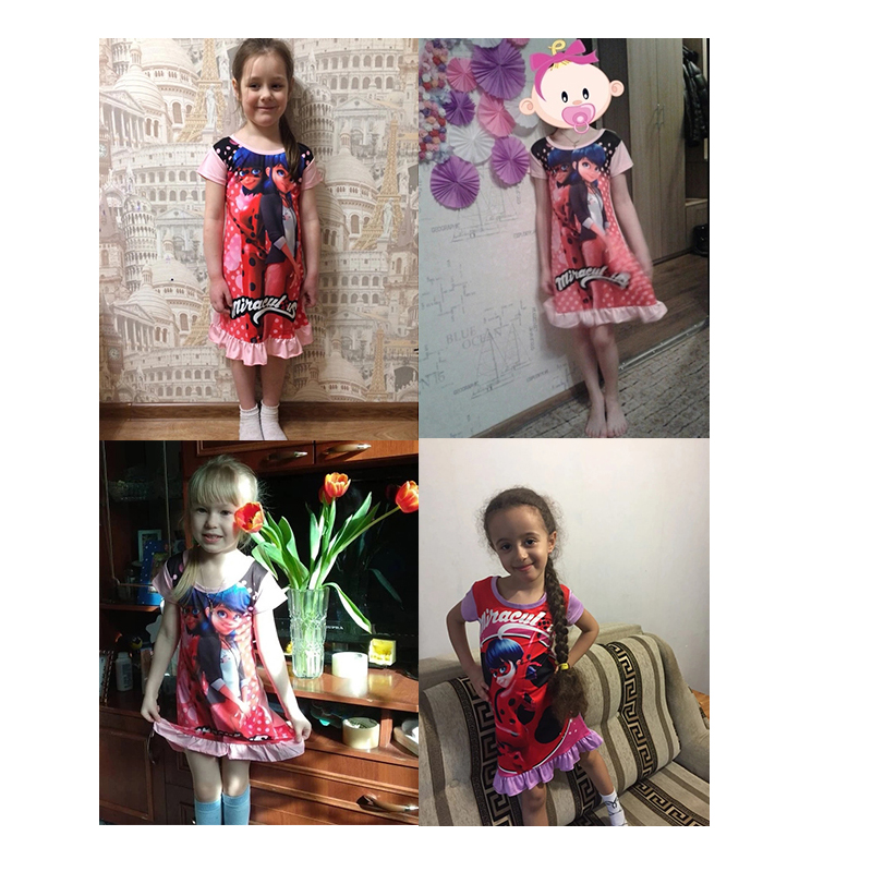 5cc34441a0a0 2018 Cartoon casual Clothes Kids Short Sleeve Dress Miraculous Lady Bug  Dresses little Girls Summer Evening Party Clothing mask bag