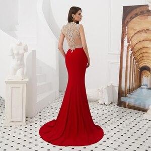 Image 2 - Rosso Abiti da ballo Mermaid Jersey Bordare Di Cristallo 2020 Cut Out Lungo Da Sera Formale Abito Del Partito A Piedi Accanto A Te Elegante di Laurea