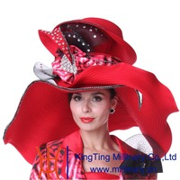 Kueeni Women Summer Hats Wide Brim Big Red Color Diamond Casing For Church Party Diamond Casings