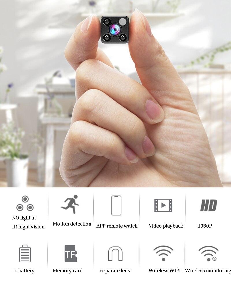 WI-FI Mini Câmera Monitor Remoto De Segurança Separado Da Lente Grande Angular de 120 Graus HD 1080 P Detecção de Movimento Visão Nocturna do IR