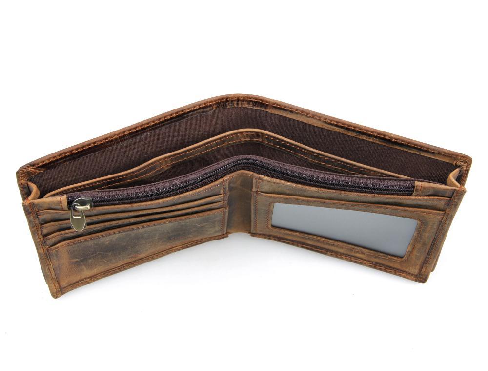 Высококачественные мужские кошельки Crazy horse кожаные винтажные дизайн большой вместительности мужские кошельки визитница