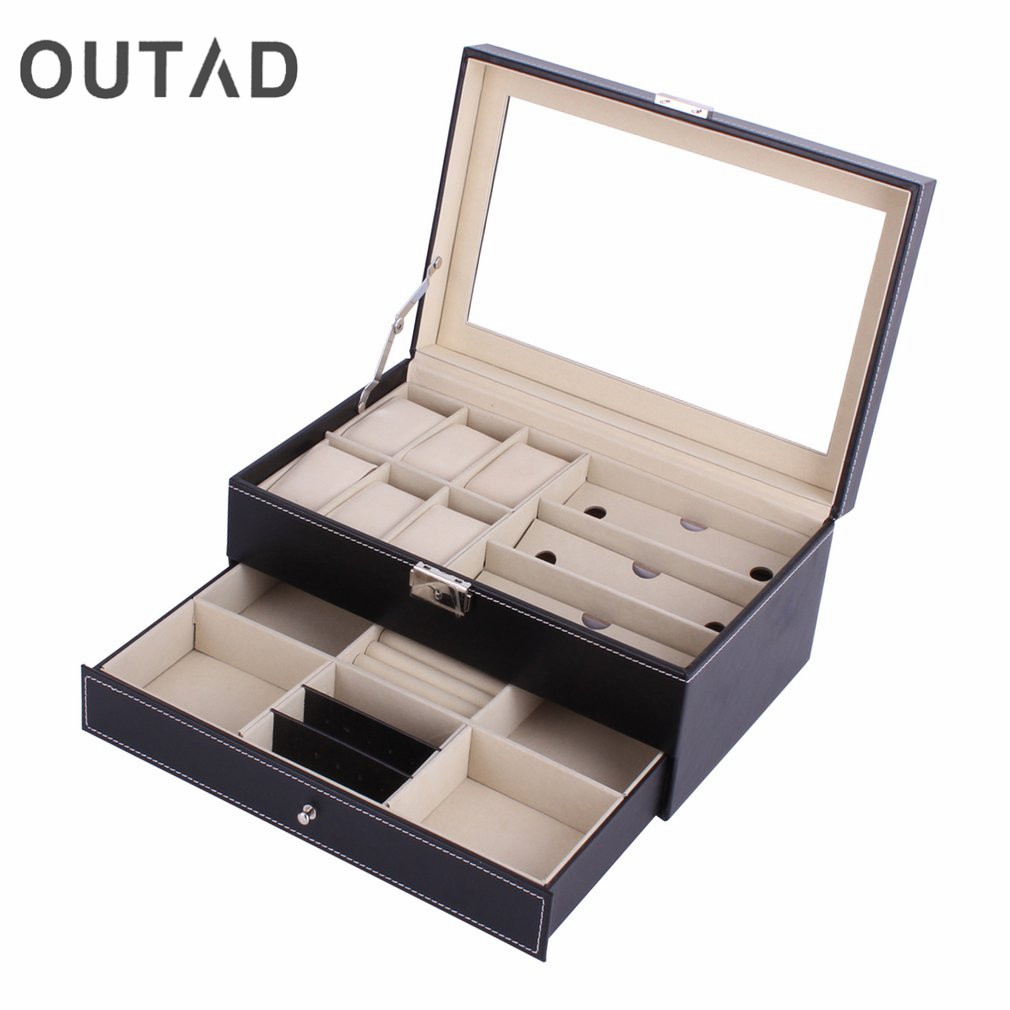 OUTAD Wooden Watch Storage Box Multifunctional Double Layers Sunglasses Watches Display Slot Case Winder Container Perfect Gift watch winder lt wooden automatic rotation 2 3 watch winder storage case display box outside is rose red and inside is black