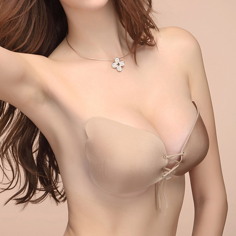 Fashion Solid Silicone Bra Stick On Gel Push Up Strapless Backless Invisible Bras Women Wedding Party Front Seamless Underwear