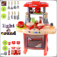 Baby Miniature Kitchen Plastic Pretend Play Food Children Toys With Music Light Kids Kitchen Cooking Toy Set For Girls Games Hot