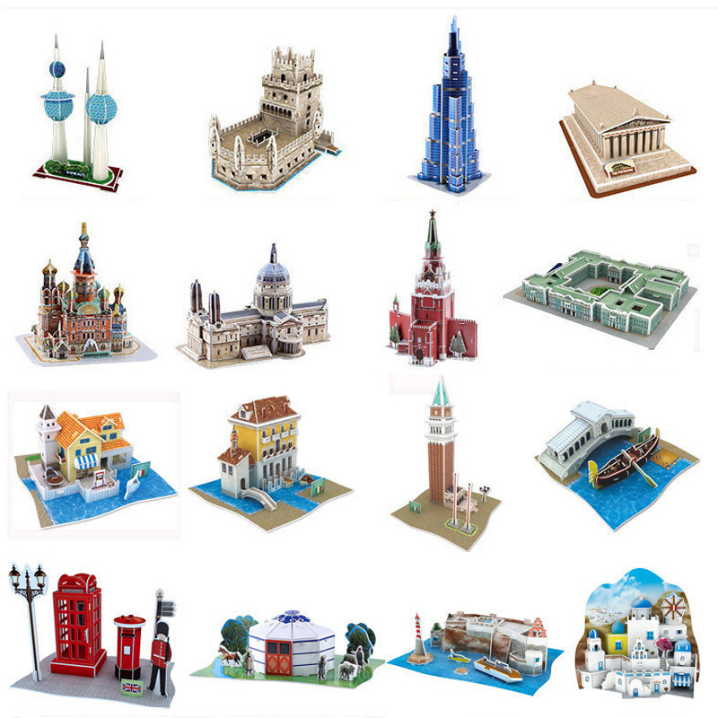 World Famous Building Model 3D Three-dimensional Paper Puzzle Children Educational DIY Assembled Children Jigsaw Kids Toys