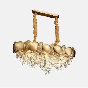 Image 3 - Gouden onregelmatige kristallen kroonluchter rechthoekige led restaurant lamp luxe woonkamer hotel techniek decoratieve lamp