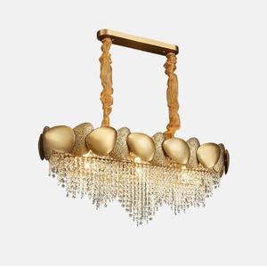 Image 3 - Ouro irregular lustre de cristal retangular led restaurante lâmpada luxo sala estar do hotel engenharia lâmpada decorativa